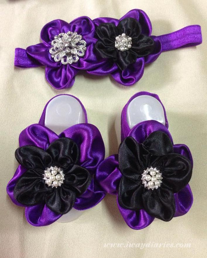 black and purple barefoot sandal set