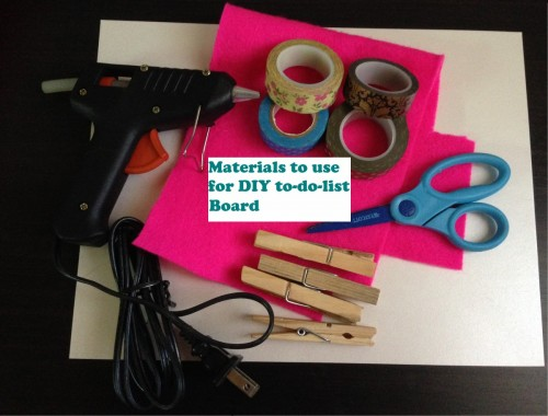 Materials needed for DIY to-do-list board