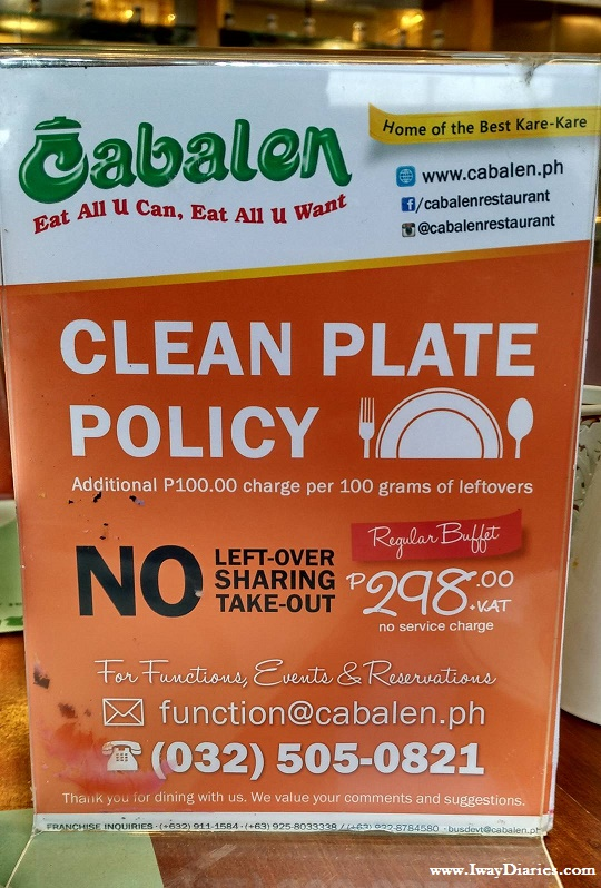 Buffet Clean Plate Policy