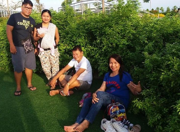 Family at childrens playground skypark