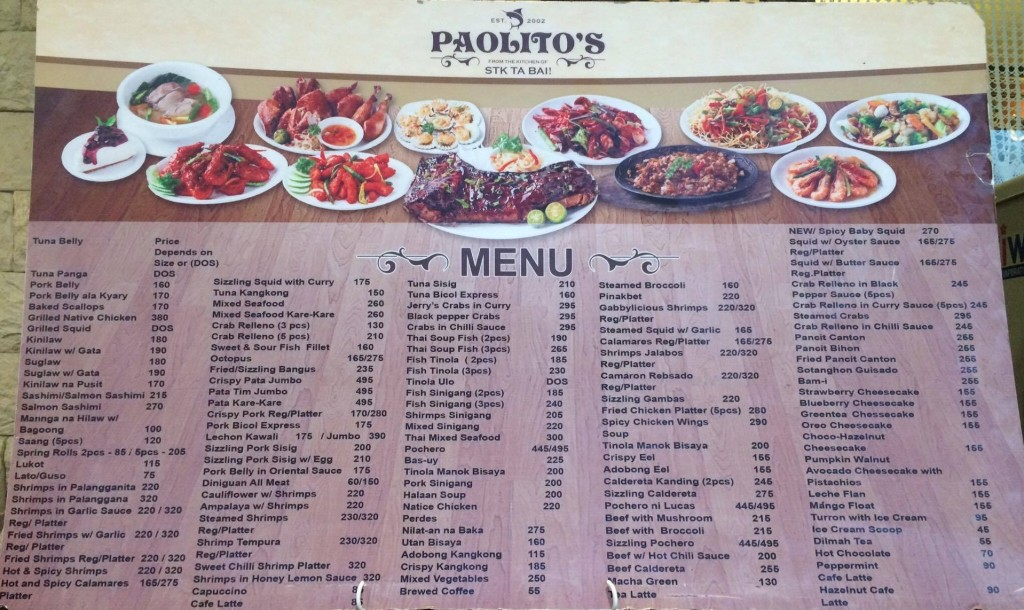 Paolito's menu - SM Seaside branch