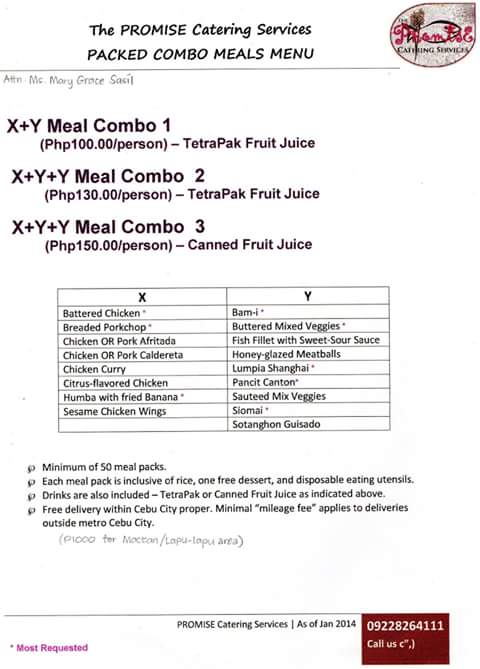 promise catering packed combo meals menu