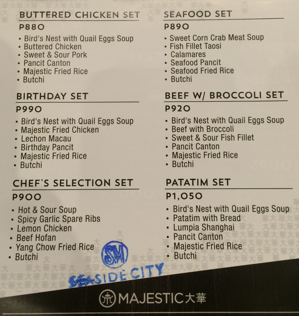 Majestic Supersavers Set Menu