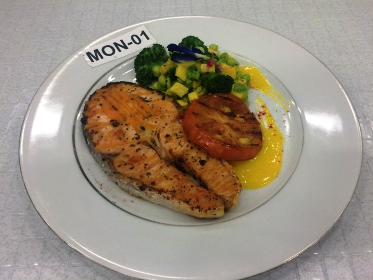 My Own Umami Creation - National entry: Pan Seared Salmon with Spicy Carrot Puree and Grilled Tomato