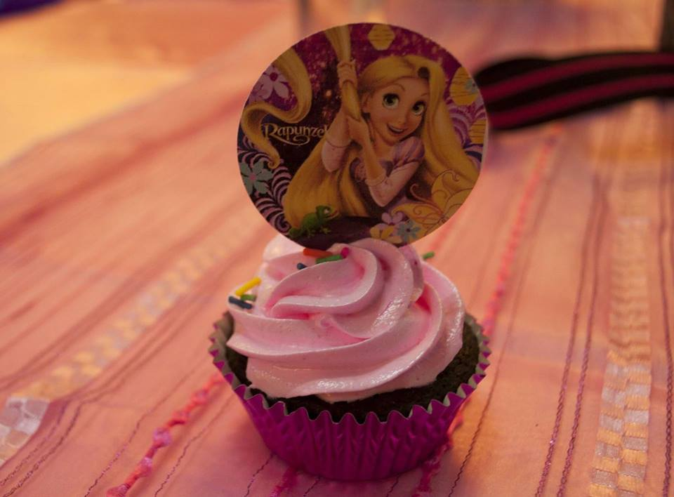 Rapunzel themed birthday cupcake