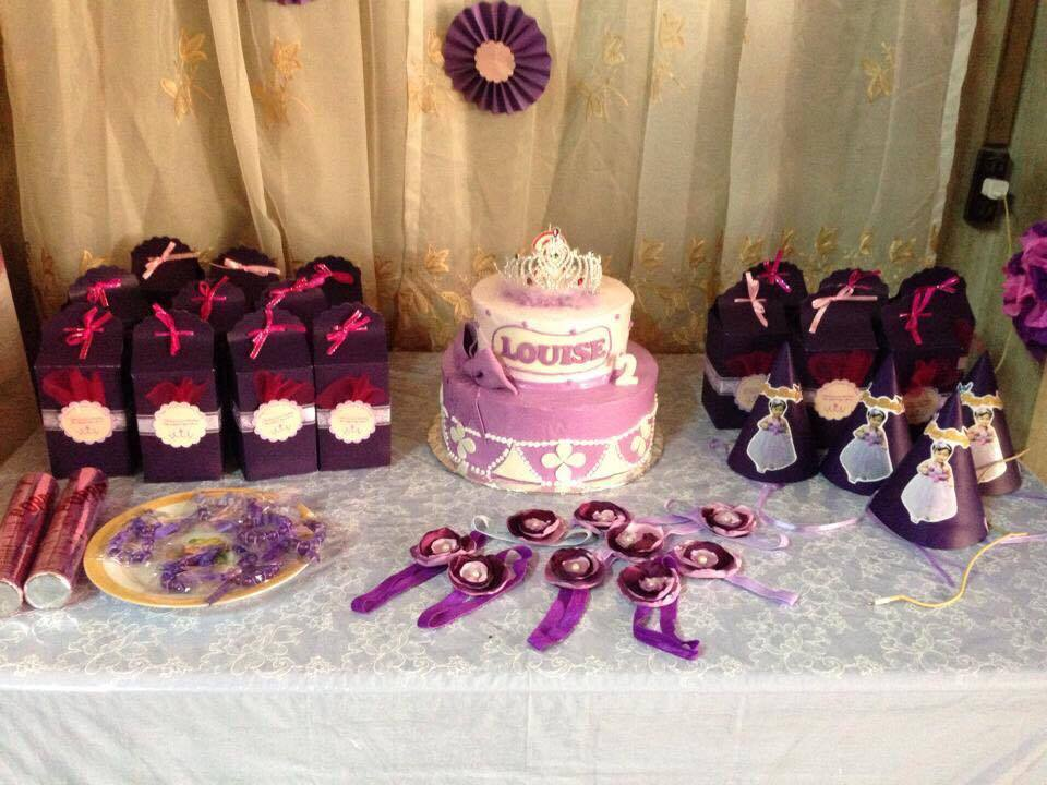 Sofia the first themed birthday cake and party