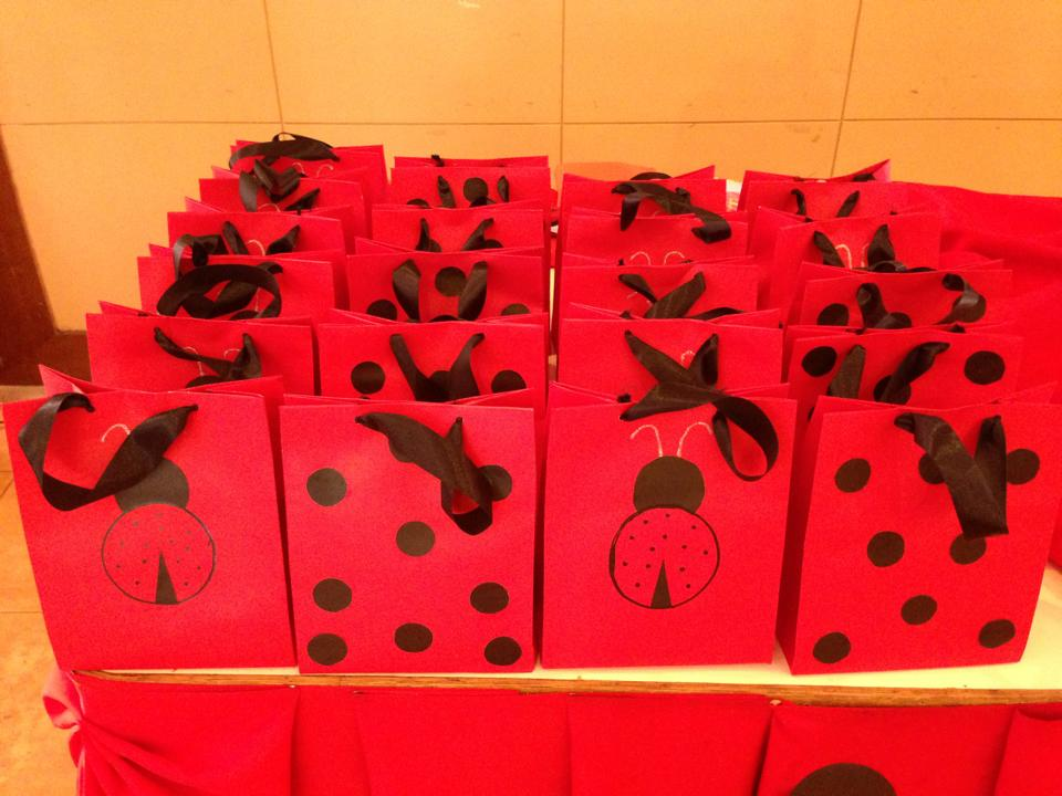 ladybug theme birthday party loot bags