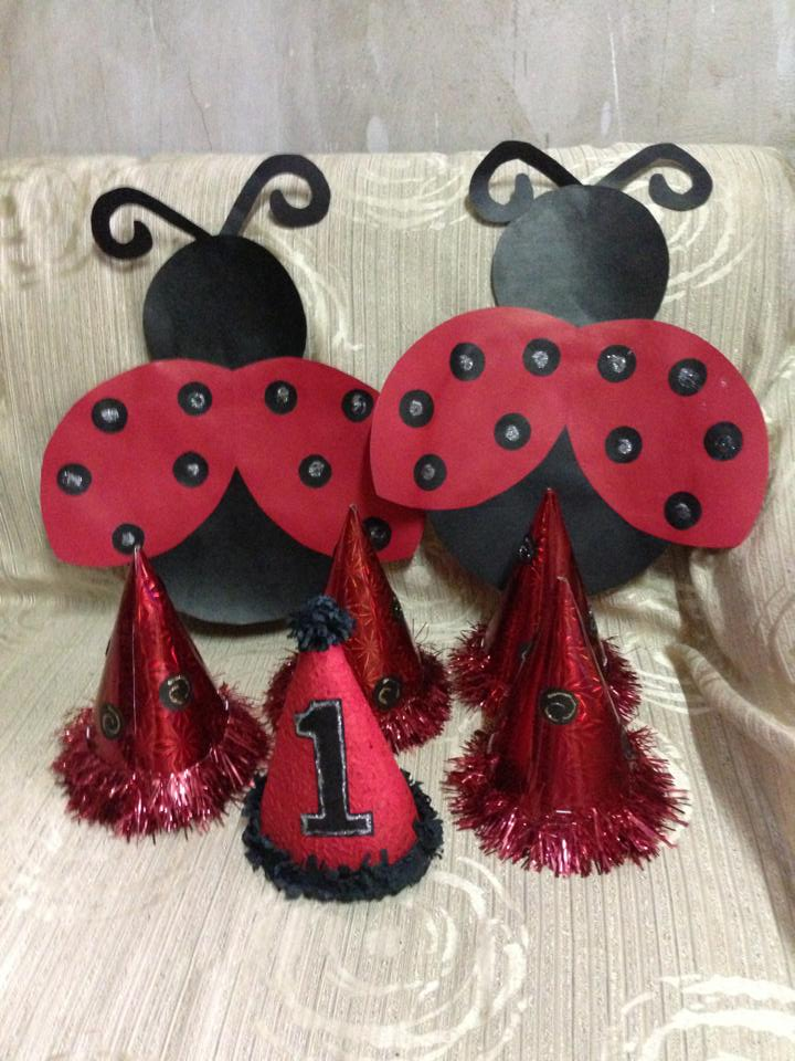 ladybug theme party hats and decorations