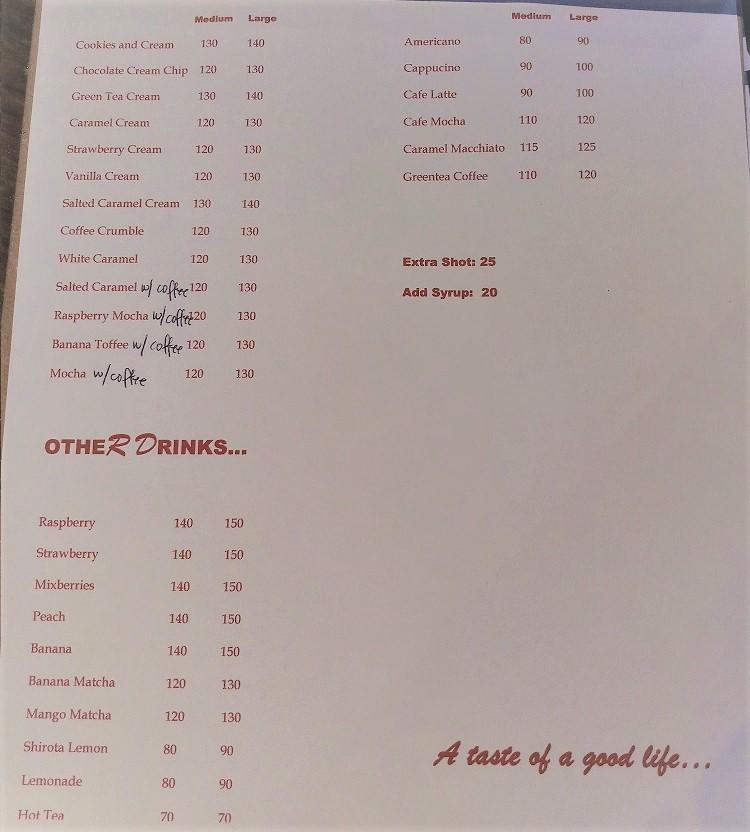Cafe Elora - menu 2