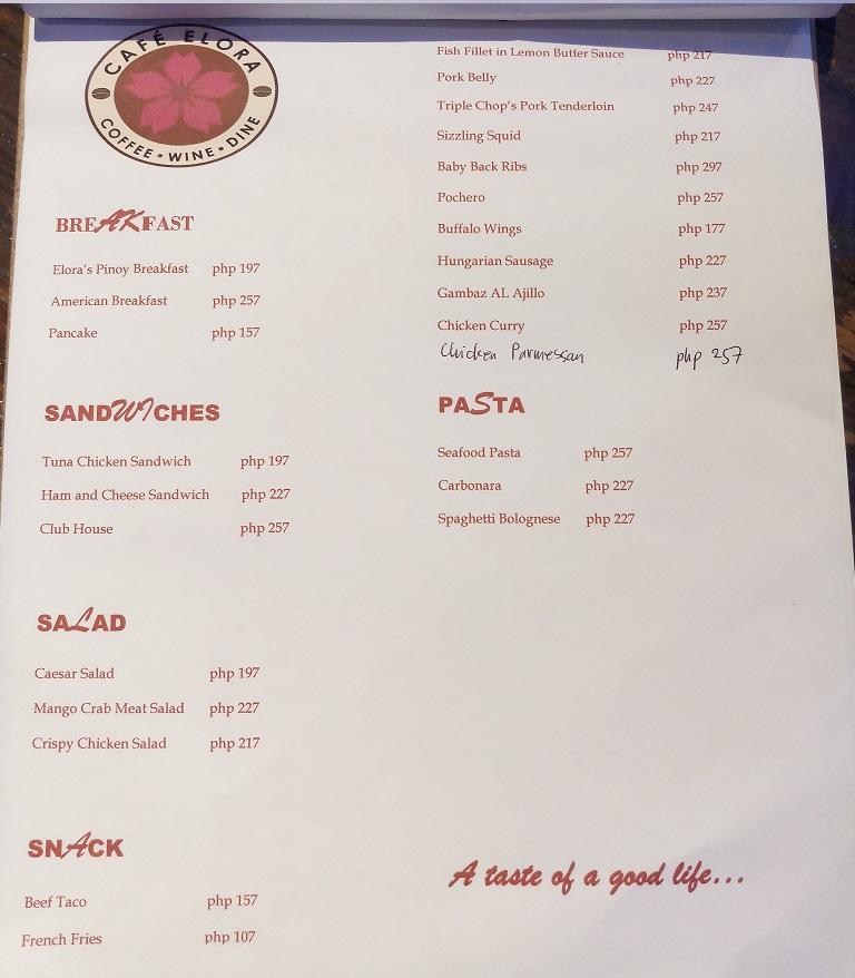 Cafe Elora - menu