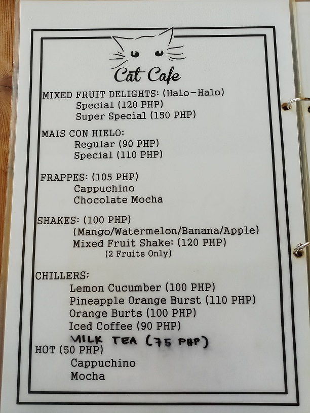 Cat Cafe Cebu Menu