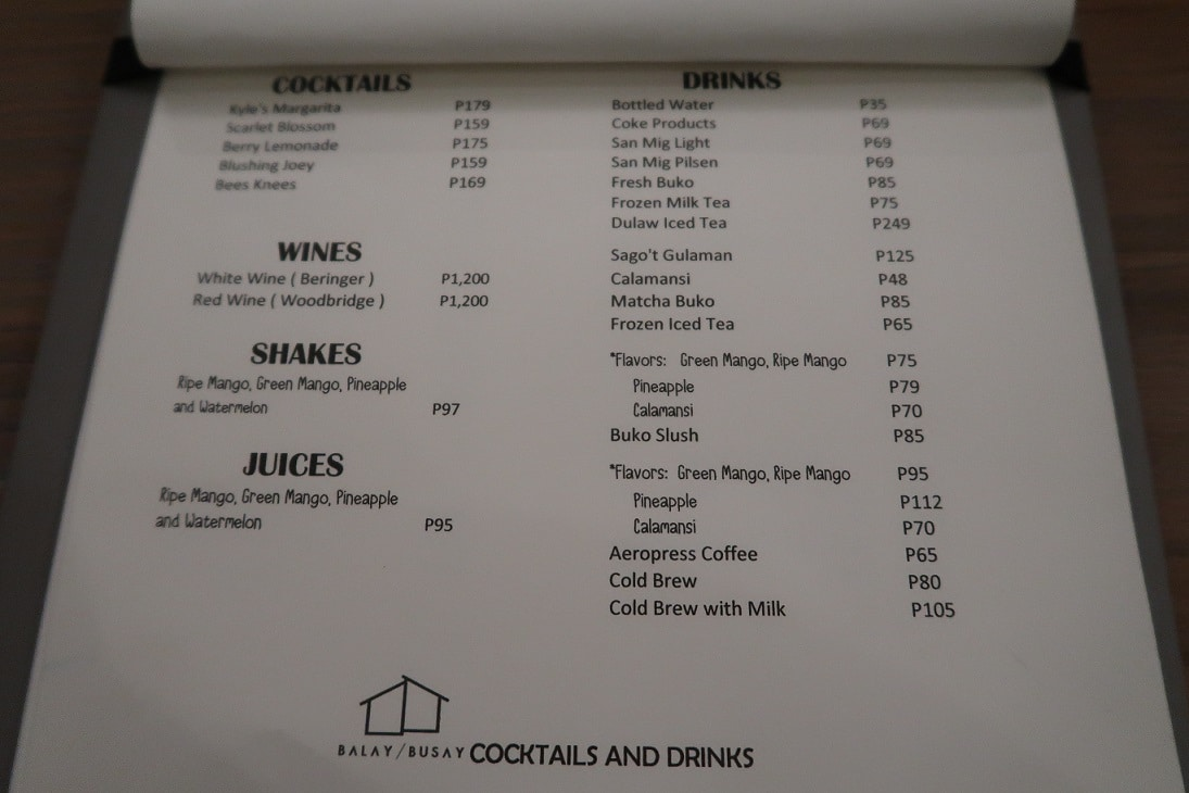 Balay sa Busay Cocktails and Drinks