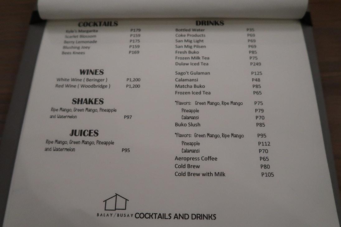 Balay sa Busay Cocktails and Drinks