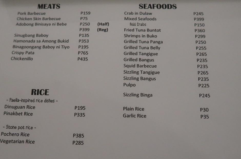 Balay sa Busay Main Dishes