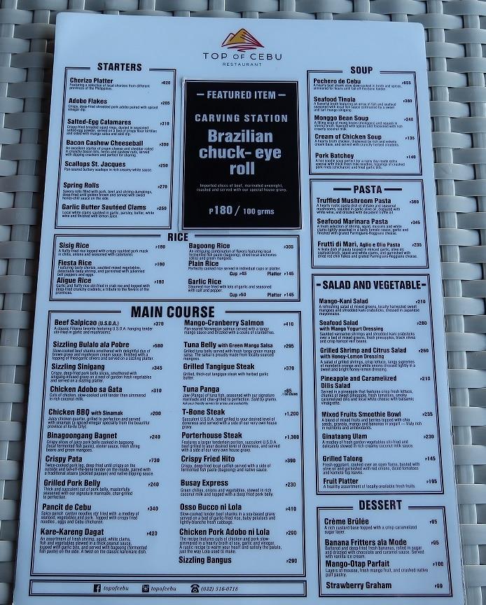 Tops of Cebu Restaurant menu
