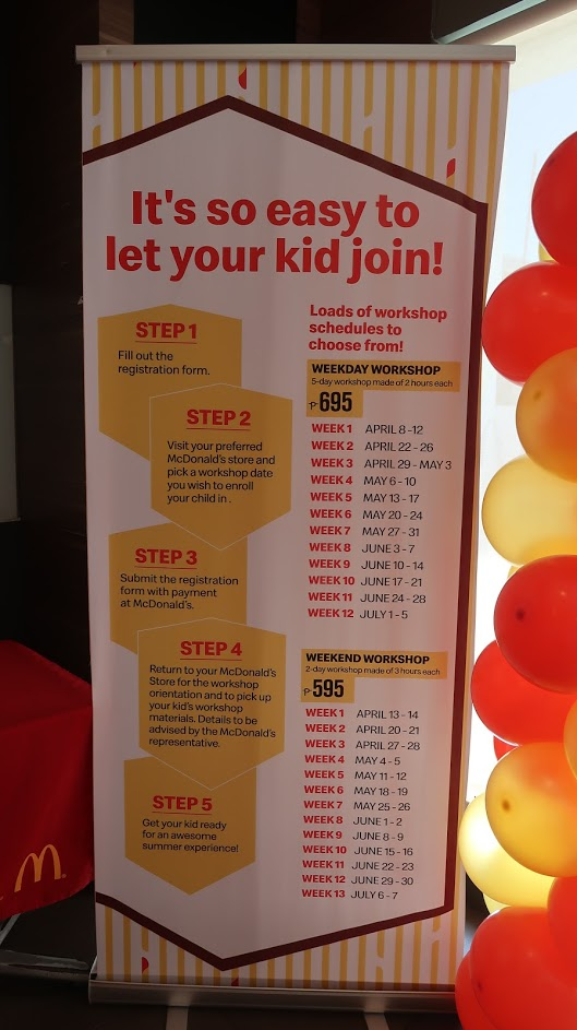 Mcdo Kiddie Crew 2019 schedule and rate