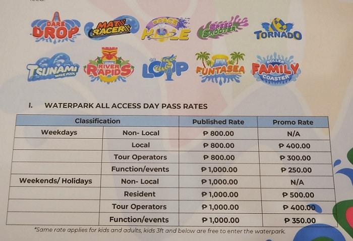 Waterworld Cebu All Day Pass Rates