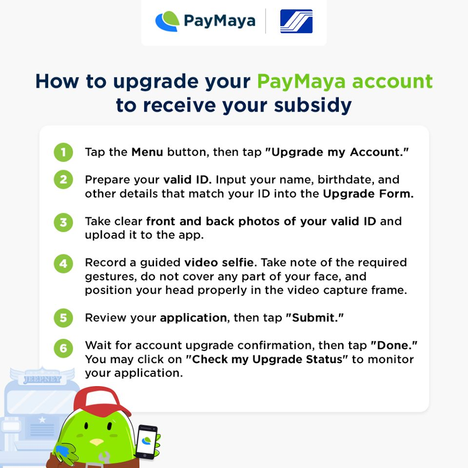 PayMaya-SSS Upgrade Account